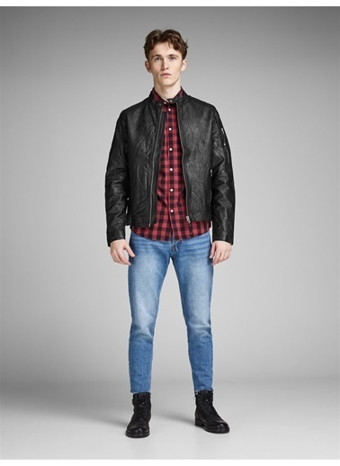 Jack & Jones Jack Jones Erkek Jprrıchard Clean Leather Jacket 12142612Sg Siyah
